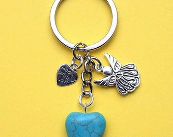 Guardian Angel Keyring with Turquoise Howlite Heart New LB5