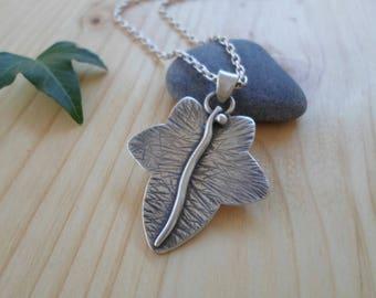 Ivy Leaf sterling silver pendant, woodland jewelry, silver leaf pendant, nature jewelry, ivy leaf necklace, ivy leaf jewelry, elven pendant