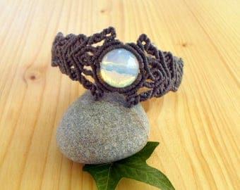 Opalite macrame bracelet, macrame jewelry, gypsy bracelet, elven jewelry, hippie bracelet, opalite jewelry, macrame stone, gemstone bracelet