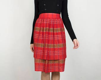 Vintage 1960s Red Plaid High Waisted Holiday Christmas Festive Winter Tiered Layered Midi Skirt
