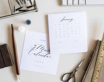 2018 calendar, desk calendar, 3 month calendar, small calendar, calendar with wood stand, calligraphy, gifts for her - #CA100