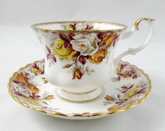 """Royal Albert """"Lenora"""" Tea Cup and Saucer, Rose Tea Cup, Vintage Bone China, Teacup and Saucer"""