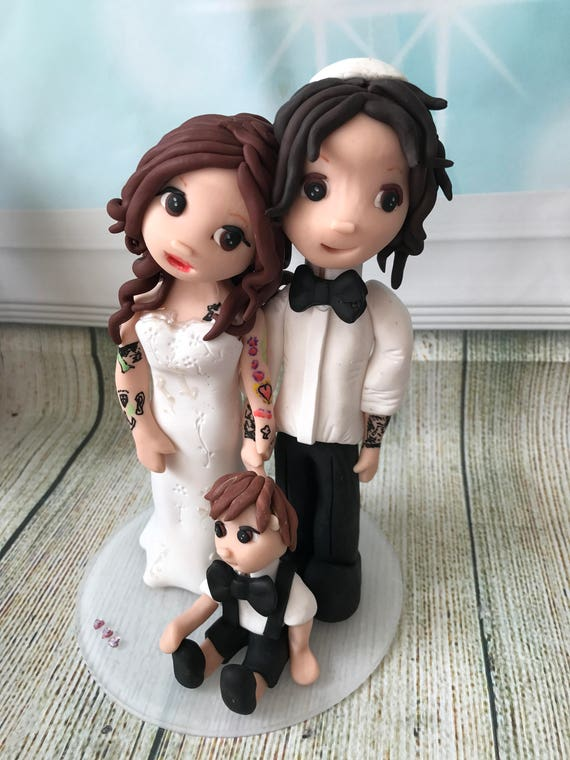 Fully personalised jewish couple clay Wedding Cake Topper highly detailed and fully sculpted Keepsake - Bespoke Premium Service