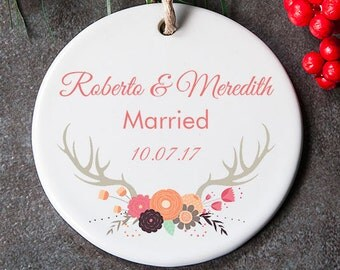 Our First Christmas Ornament, Wedding Ornament, Just Married Ornament, First Christmas Married, Wedding Gift for Couple. Mr and Mrs
