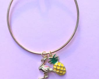 Summer Charm Bracelet, Flamingo Jewelry, Pineapple Jewelry, Southern Bracelet, Gifts under 50, Summer Jewelry,  Stackable Bracelet, Tropical
