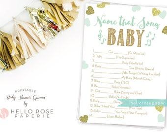 Name That Song Baby . Mint Green and Gold Baby Shower Game . Girl or Boy Twin Baby Shower Printable . Printable Game . Instant Download