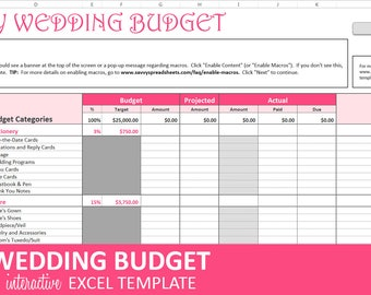 Savvy Wedding Budget - Pink - Wedding Budget Planner | Excel Wedding Budget Wedding Expenses Tracker | Instant Digital Download