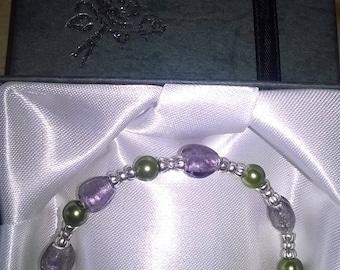 handmade  purple. green, silver bracelet