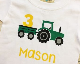 Tractor Birthday Shirt | Choose number & Red or Green Tractor | boy | 1 | 2 | 3 | 4 | 5 | Personalized | John Deere | International
