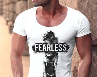 Men's T-shirt Deep Scoop Neck Angry Lion Fearless Slogan Premium Quality MD802