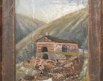 Antique oil collage painting landscape house