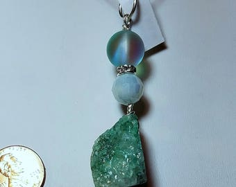WP08 Aqua druzy pendant with aqua opal bead, interchangeable with neck wires and chains