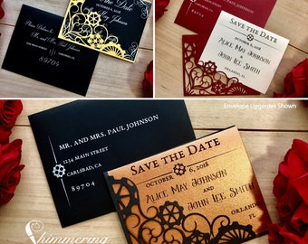 Steampunk Save the Date card laser cut pocket with gear for Sci-Fi wedding
