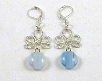Sky Blue Fused Glass Chandelier Earrings (Item #439)