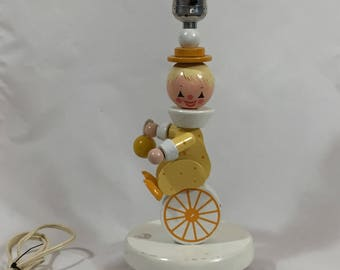 Irmi Nursery Clown Wood Lamp, Vintage 1968 by Nursery Plastics