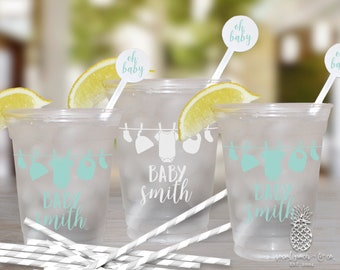 Clothesline Baby Shower   Customizable Clear Disposable Cups   social graces Co