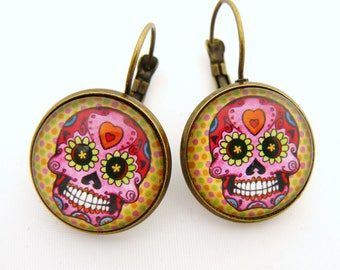 Pink Mexican skulls earrings