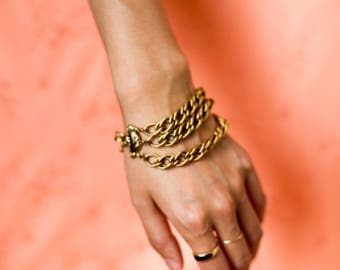 Vintage gold colored multi chain bracelet with decorative clasp | Valentines day gift | Valentines Day Gift For Her