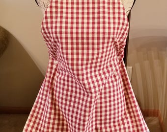 Red, White, & Blue Tea Towel Apron, Red and White Check, Adjustable Strap Apron, Stars and Stripes, Ready to Ship, MarjorieMae