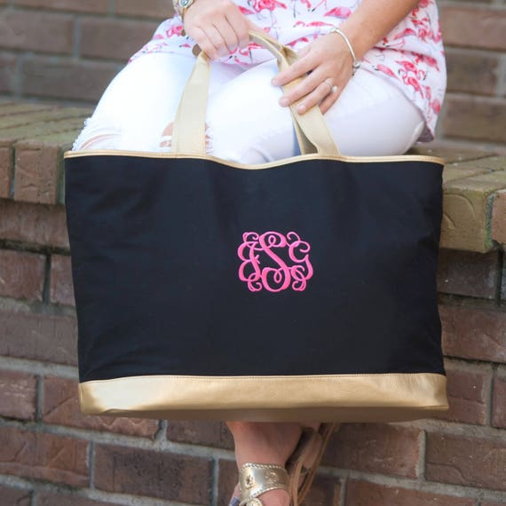 Monogrammed Black Tote Bag Black and Gold Tote Monogrammed Bags Black Personalized Bag Embroidered Bag Monogrammed Gifts Bridesmaid Gifts