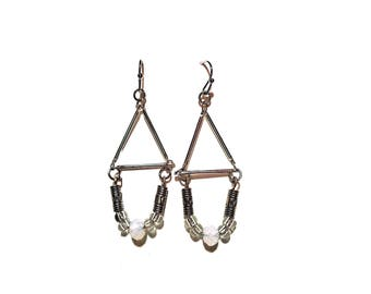 Moonstone and silver triangle earrings