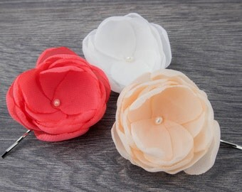Hair Flower Set - Ivory Coral Peach - Hair Clip Set - Bridesmaids Flowers - Flower Girl Clips - Fabric Flowers - Hair Flower Clip - Brooch