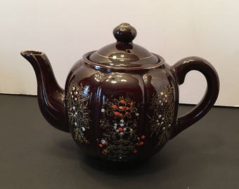 Redware Brown Betty Teapot with Gold Gilding ~ Made in Japan ~ Vintage