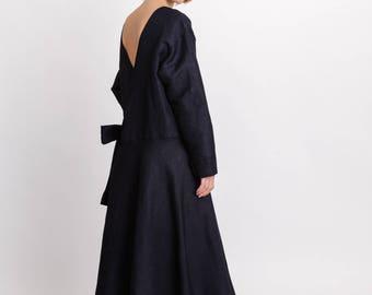 Woman's lagenlook dress / Oversized open back linen dress / Midi elegant tie dress / Designer wrap dress / Fasada 18008