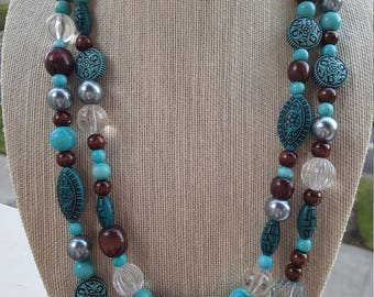 Two Strand Brown and Teal Necklace