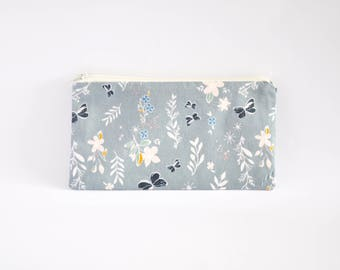 Small Zipper Pouch, Zipper Bag, Makeup Pouch, Cosmetic Pouch, Coin Purse, Bag Storage Organiser - Floral Midnight Grey
