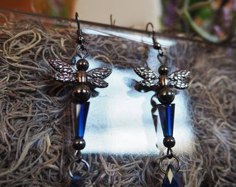 Midnight Dragonfly Dangle Earrings