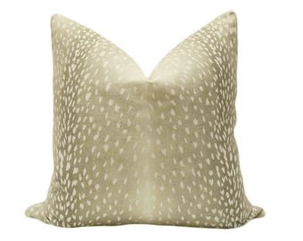 Antelope Linen Print // Natural Pillow COVER ONLY
