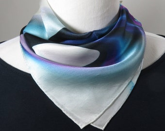 """Small Square Scarf, """"Blue Flare"""" design, 17"""" Square, gifts for her, hand-rolled hem,  women in science"""