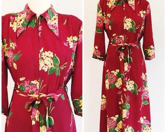 Vintage 1940's Floral Print Rayon Hostess Dress | 40's Floral Zipper Front Dressing Gown Size Medium