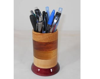 Wood Pencil Holder, Wooden Pen Cup, Office Desk Organizer (#140)