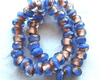Ten Czech glass roller beads, 9mm x 6mm periwinkle blue & crystal, copper lined, faceted roller, rondelle beads, big 3.5mm hole beads C02110