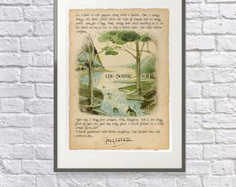 The Hobbit Unique Print - Opening & closing Lines of the Novel - Lord of the Rings Gift - JRR Tolkien - Hobbit Art - Hobbit Gift Fan
