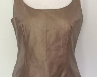 Vintage leather top shell top vest by Margaret Godfrey in Bronze leather size large