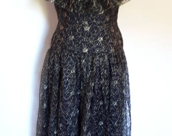 Vintage dress 80s Charade Made In England Black floral lace with gold metallic thread evening dress size small medium