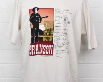 Vintage 1990s Branson Missouri Where Legends Are Born Music Stars Hall of Fame Signatures XL T-Shirt