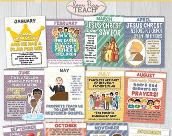 "2018 LDS Primary Theme MONTHLY POSTERS ""I Am a Child of God"" Monthly Themes and Scriptures"