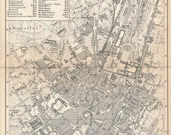 1873 Stuttgart Germany Antique Map