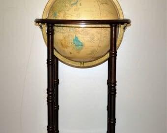 Cram's Imperial World Globe floor world globe/The George F. Cram Company four legs 12'' Globe/Sepia World Globe on wood Stand/vintage globe