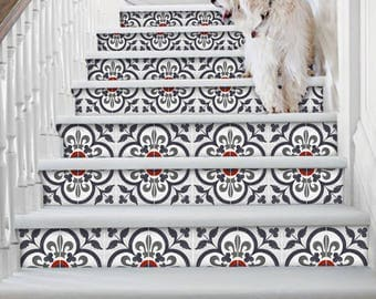 "Stair Riser Stickers - Removable Stair Riser Vinyl Decals - Corona Pack of 6 in Ink - Peel & Stick Stair Riser Deco Strips - 48"" long"