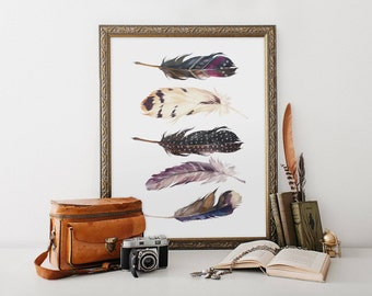 feather instant download, feather printable, tribal watercolor feather print, 8x10 feather printable, printable feather art, feather picture