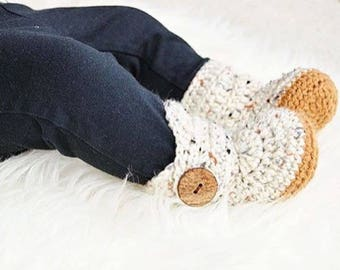 Crochet Baby Boots, Oatmeal Soft Sole Newborn Walkers, Golden Yellow Gender Neutral Booties, Ivory Infant Shoes, Cream Crochet Baby Booty