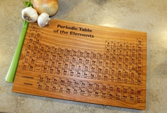 Periodic Table Personalized Cutting Board  Engraved on Maple, Walnut, Cherry or White Oak Wood.