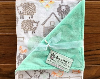 Farm Animals Baby Blanket - Gender Neutral Baby Gift - Minky Baby Blanket - Baby Shower Gift - Personalized Gift for Baby Boy or Baby Girl