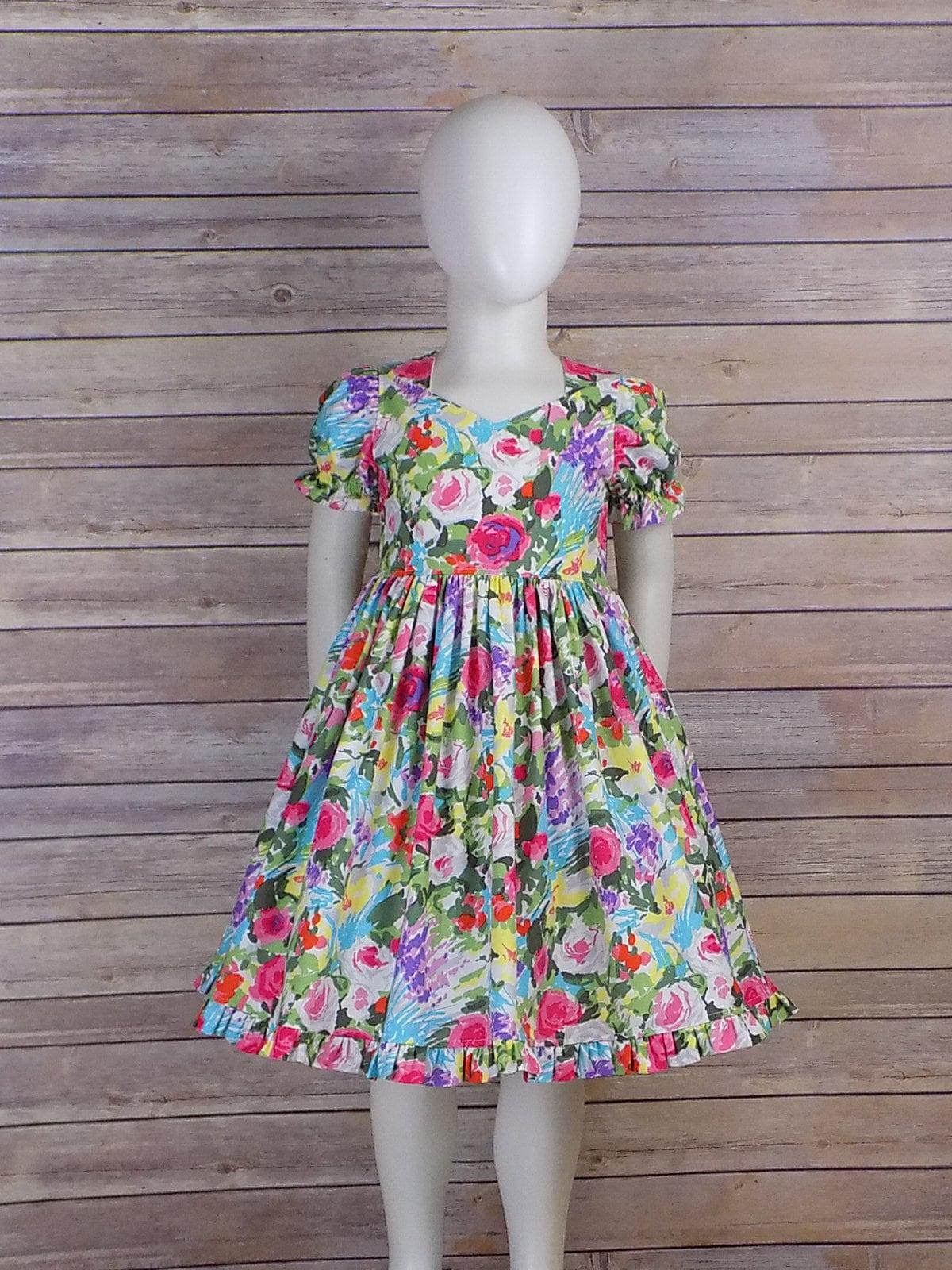 Spring Dress Girls Easter Dress Floral Short Sleeves