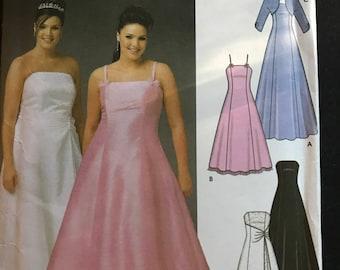 Simplicity 5207 - Princess Seamed Strapless or Sleeveless Evening Dress with Bolero - Size 18W 20W 24W